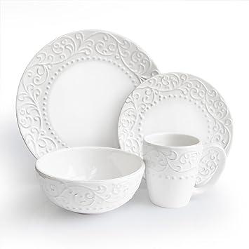 Amazon.com | American Atelier Bianca White 16-Piece Dinnerware Set Dinnerware Sets  sc 1 st  Amazon.com & Amazon.com | American Atelier Bianca White 16-Piece Dinnerware Set ...