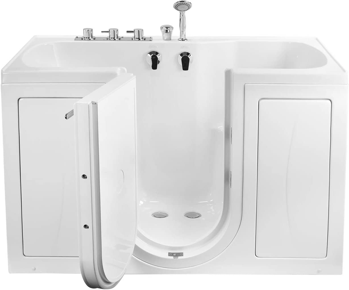 Ella S Bubbles O2sa3260 L Tub4two Acrylic Soaking Walk In Tub With Left Outward Swing Door Thermostatic Faucet Dual 2 Drains 32 X 60 X 42 White Amazon Com