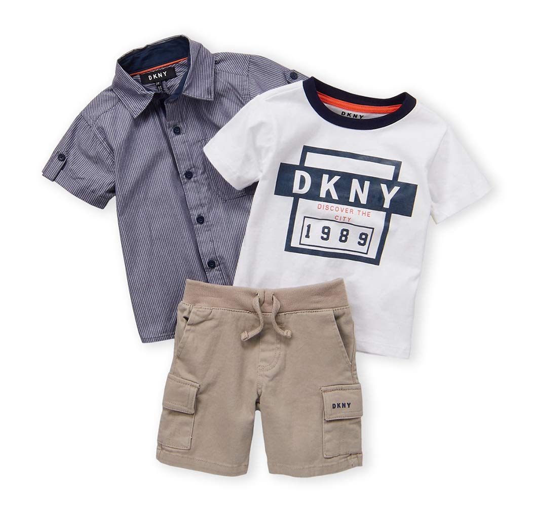DKNY Boys' Little Sleeve Woven, T-Shirt, and Twill Short Set, Mouse, 4