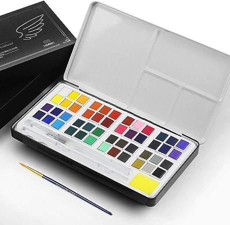 2 Water Brush Pen 2 Sponge Paint Essential Set 36 Vibrant Watercolour Paints Professional Watercolor Kit Portable Watercolour Block with 12 Watercolor Paper