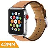 PowerBear Leather Band Compatible with Apple Watch [42mm] Genuine Leather Band for iWatch - Corrected Grain and Pigment Treated | Stainless Steel Buckle and Slides - Brown [24 Month Warranty]