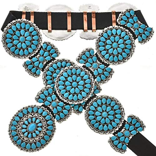 Petit Point Cluster Turquoise Concho Belt Traditional Navajo Pattern 0090