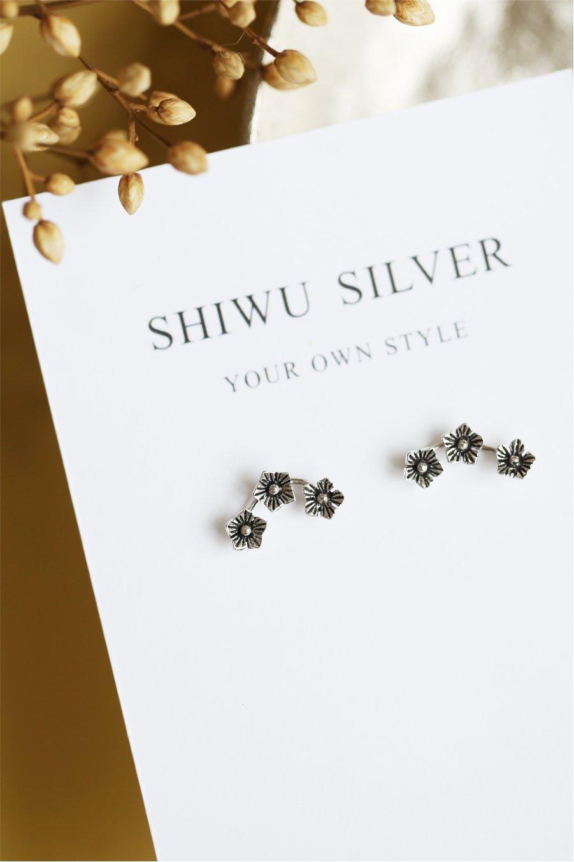 Thai Design Models s925 Silver Mini Silver Flower Silver Stud Earrings earings Dangler Eardrop Women Girls Woman Retro Unique Gift Hypoallergenic