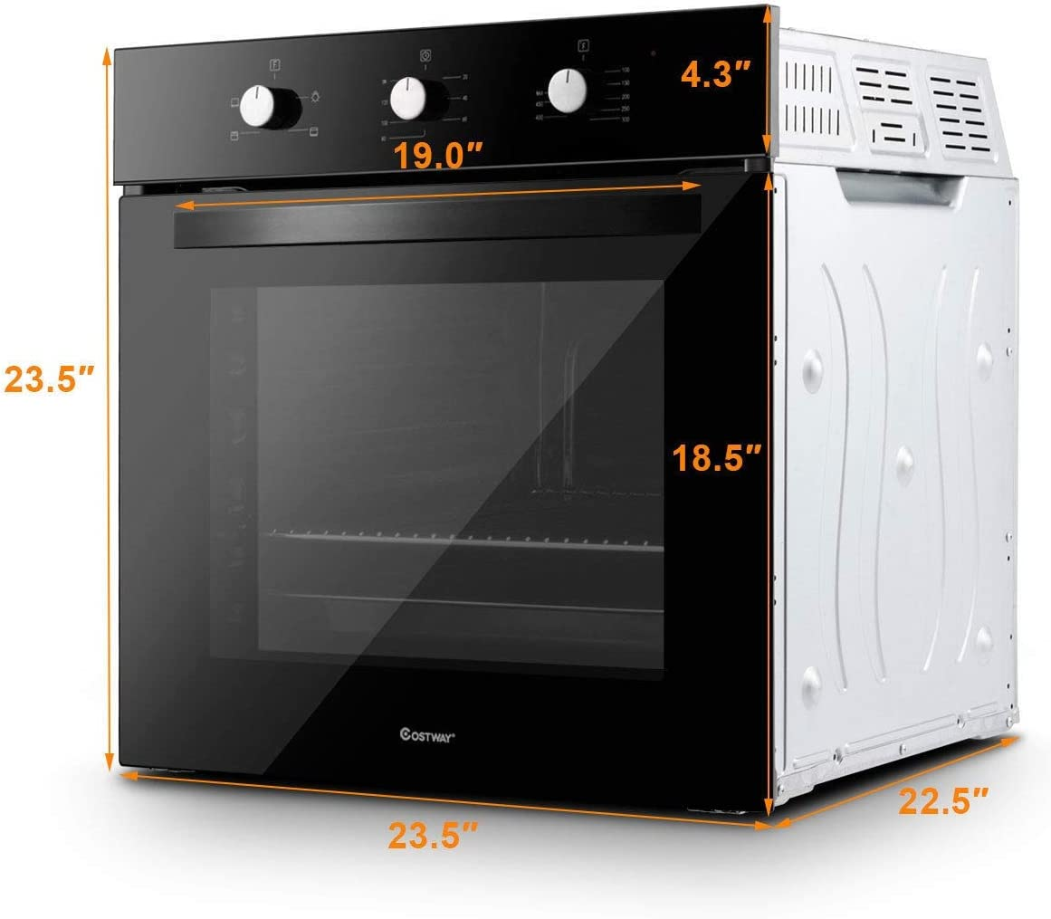 "Goodyusstore, Elegant Appearance 24"" Electric Built-In Single Wall Convection Oven 220V Buttons Control, 4 Cooking Functions Baking, Broiling, Toasting, Food Warm, Easy Use Assemble Clean, Safely Use"