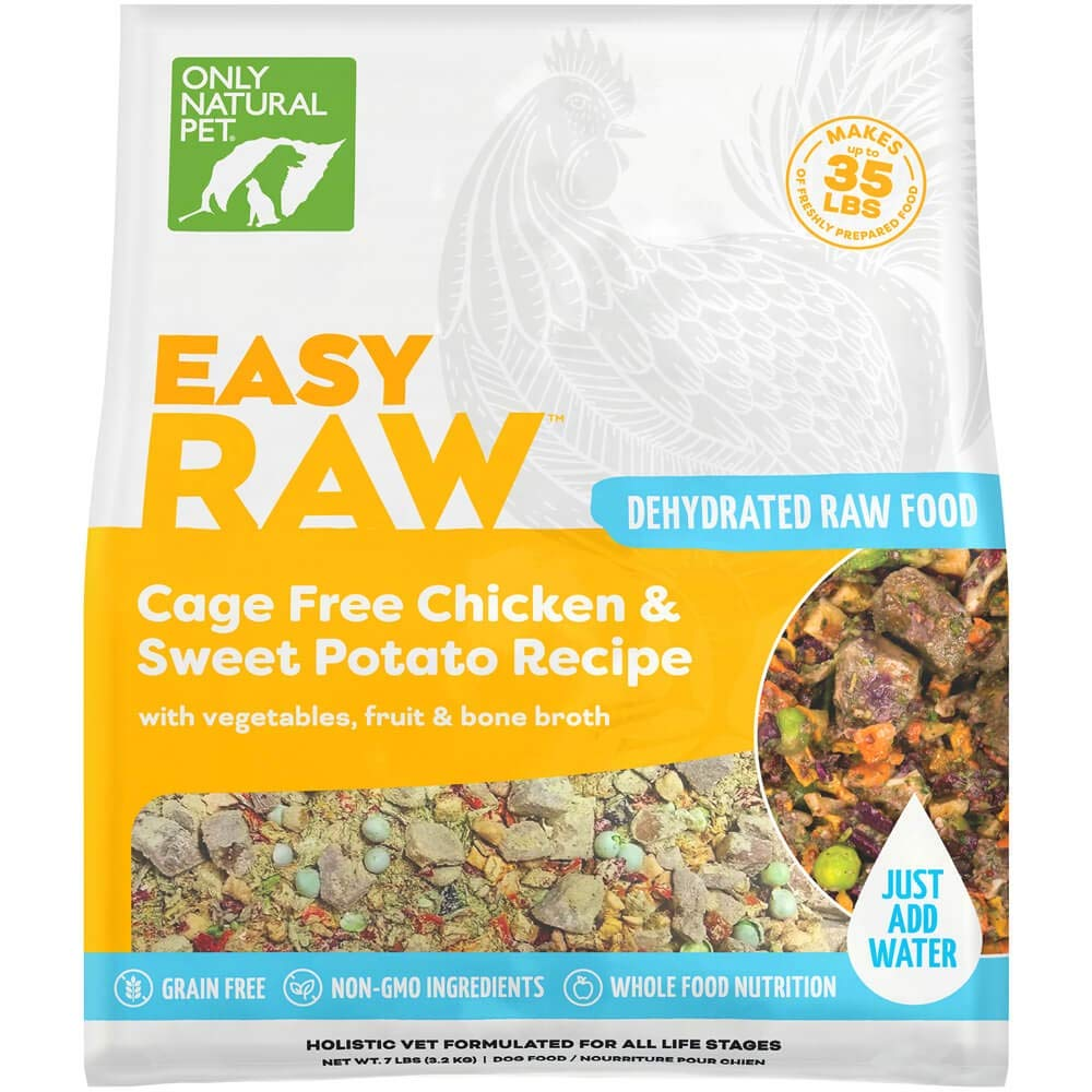 Only Natural Pet EasyRaw Human Grade Dehydrated Raw Dog Food Formula That Contains Real Wholesome Nutrition, Low Glycemic, Non-GMO - Chicken & Oats Flavor - 7 lb Bag (Makes 40 lbs) by Only Natural Pet
