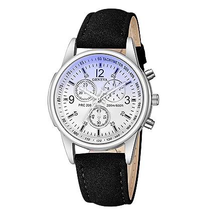 Longra☆ Relojes Análogos del Cuarzo del Vidrio Azul del Rayo del Azul de la Moda