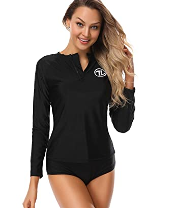 83d4ab9386 Taylover Womens Swim Shirt Rash Guard Long Sleeve Rash Guard Swimsuit  Swimwear Top Rash Guard