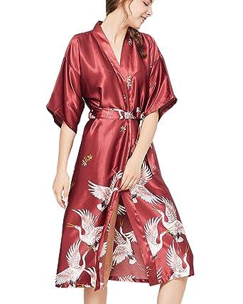 Mujer Verano Suave Kimono Bata de Satén Estampado Floral Ropa de Dormir 3/4 Manga con Cinturón Pijama: Amazon.es: Ropa y accesorios