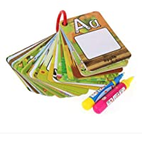 Kongqiabona Tarjeta para Dibujar en el Agua Libro para Colorear con 2 Plumas Mágicas Carta con el número Tarjeta de Pintura cognitiva Juguetes educativos para niños