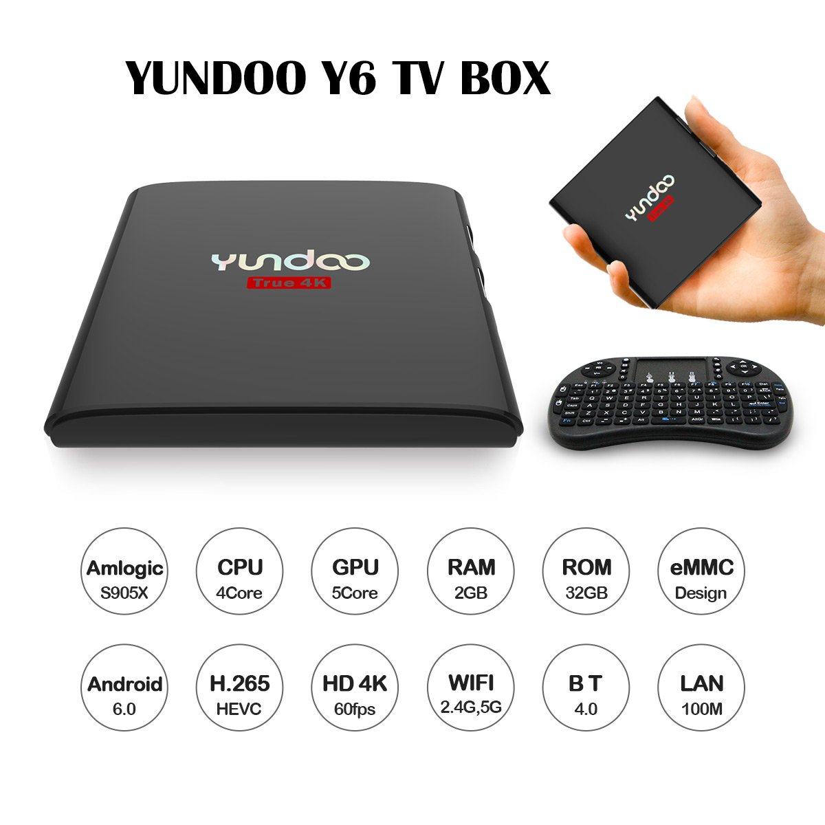 4K TV Box YUNDOO Y6 Android 6.0 2G RAM 32G ROM Smart Tv Box Amlogic S905X Media Player Support HDR VP9 HEVC BT4.0 DLNA 2.4G 5G Wifi with I8 Mini Keyboard