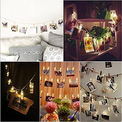 Photo Clip LED String Lights, Decornova 16.4 feet 20 LEDs IP44 Waterproof 8 Modes Ornamental LED Fairy String Lights with 3AA Battery Box, Warm White