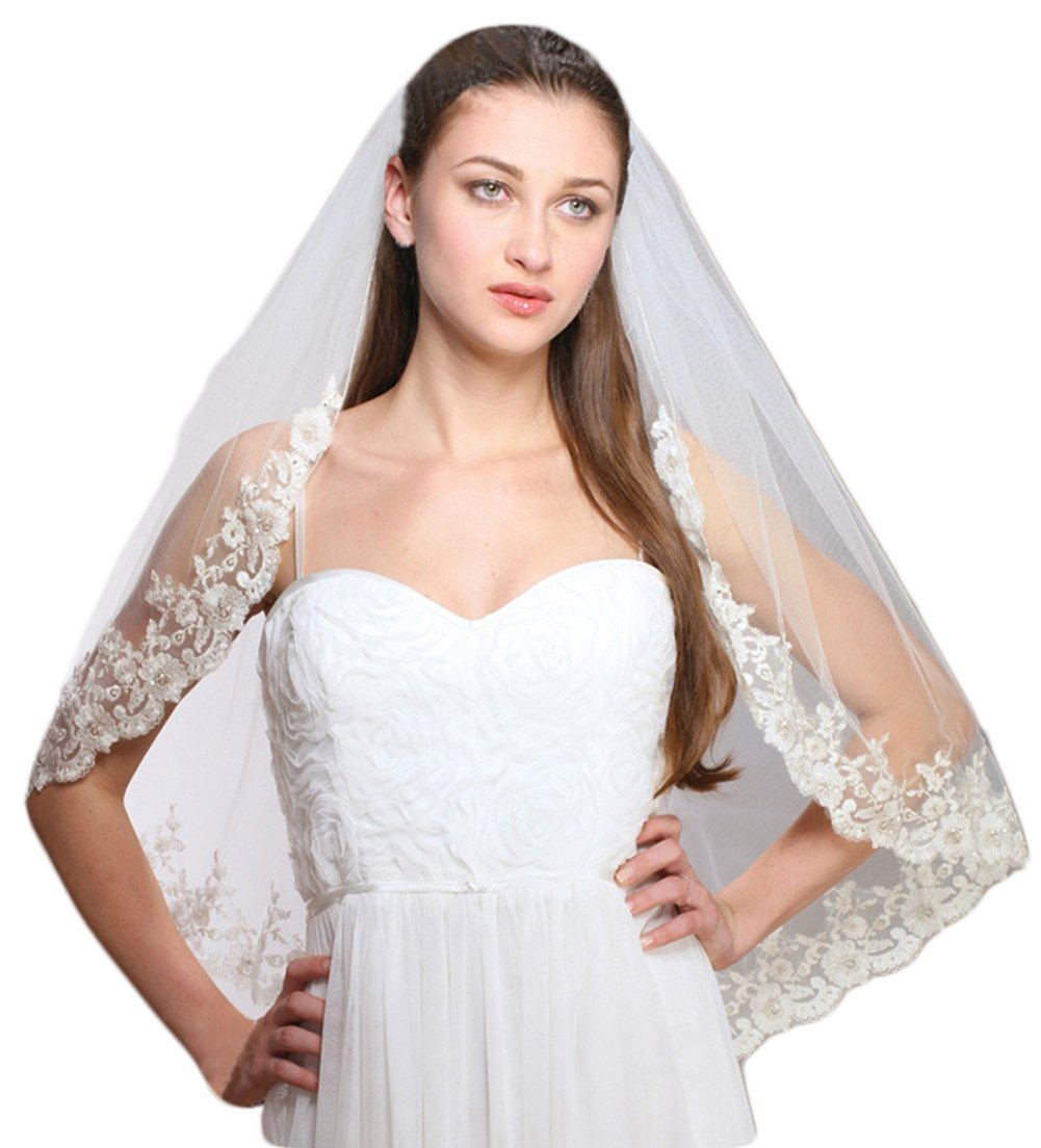 Mariell Women's 1-Layer Ivory Mantilla Bridal Veil with Crystals, Beads & Lace Edge by Mariell