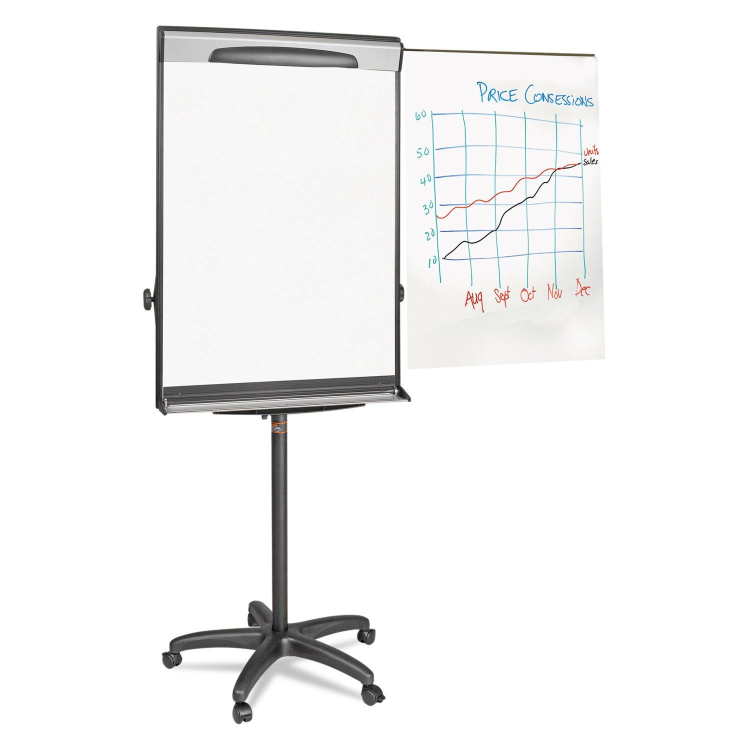 ** Tripod Extension Bar Magnetic Dry-Erase Easel, 69'' to 78'' High, Black/Silver **