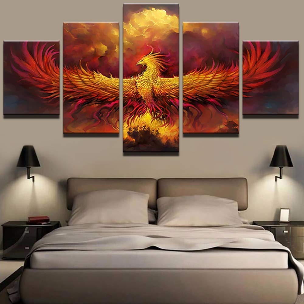 YI KUI Canvas Prints Canvas HD printed fire phoenix bird pictures 5 Panel Abstract Painting Modular wall art poster for the living room home decor 20 /× 55 /× 1 A 20 /× 45 /× 2 20 /× 35 /× 2
