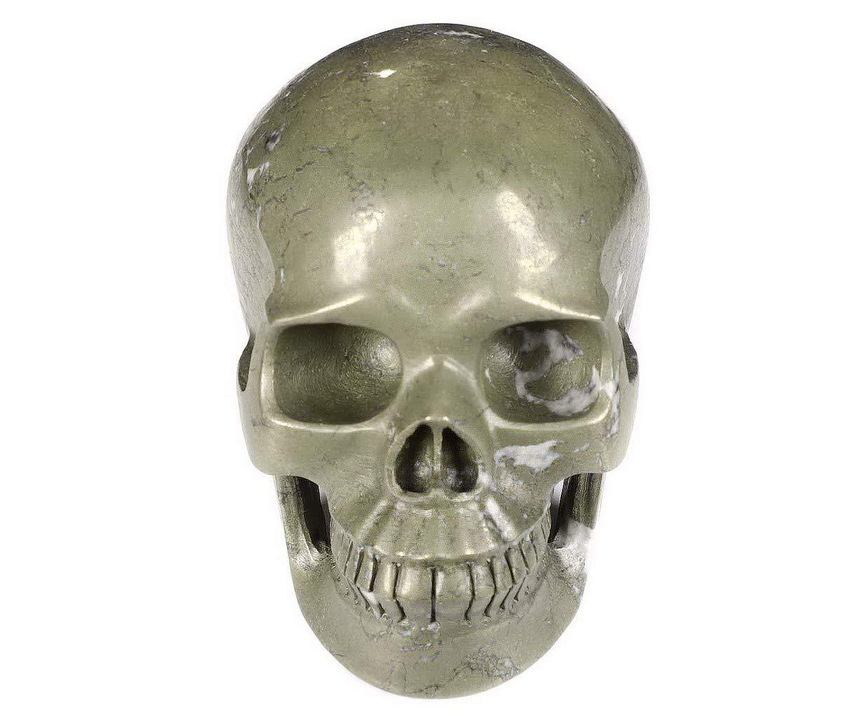 Skullis 5.0 Pyrite Crystal Skull, Hand Carved Gemstone Fine Art Sculpture, Reiki Healing Stone Statue