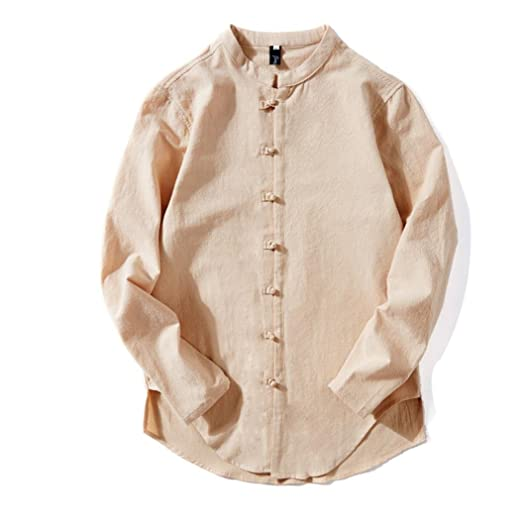 a61144c18a9 Willsa Men Cotton Linen Retro Casual Tops Chinese Style Solid Color Long  Sleeve Buckle T Shirt