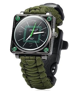 ZENDY cuerda Paracord relojes de pulsera cuadrados con rascador firestarter inoxidable y silbato y multifunción brújula herramientas de supervivencia al ...