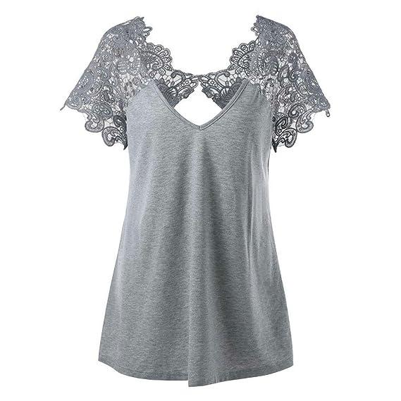 Hibote Mujer Camiseta de Encaje Camisa Blusa Ajustada de Color Solide O Cuello Corto Mangas Tops