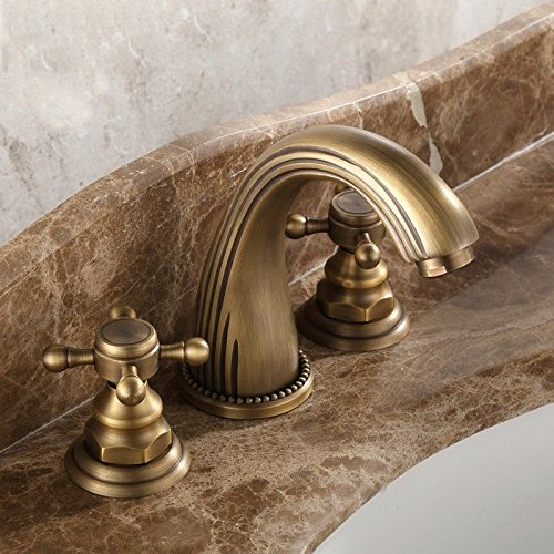 AWXJX Sink Taps European and American retro style copper Wash your facePots black bathroom Brushed Bathtub Hot and cold Three holes by AWXJX Sink faucet