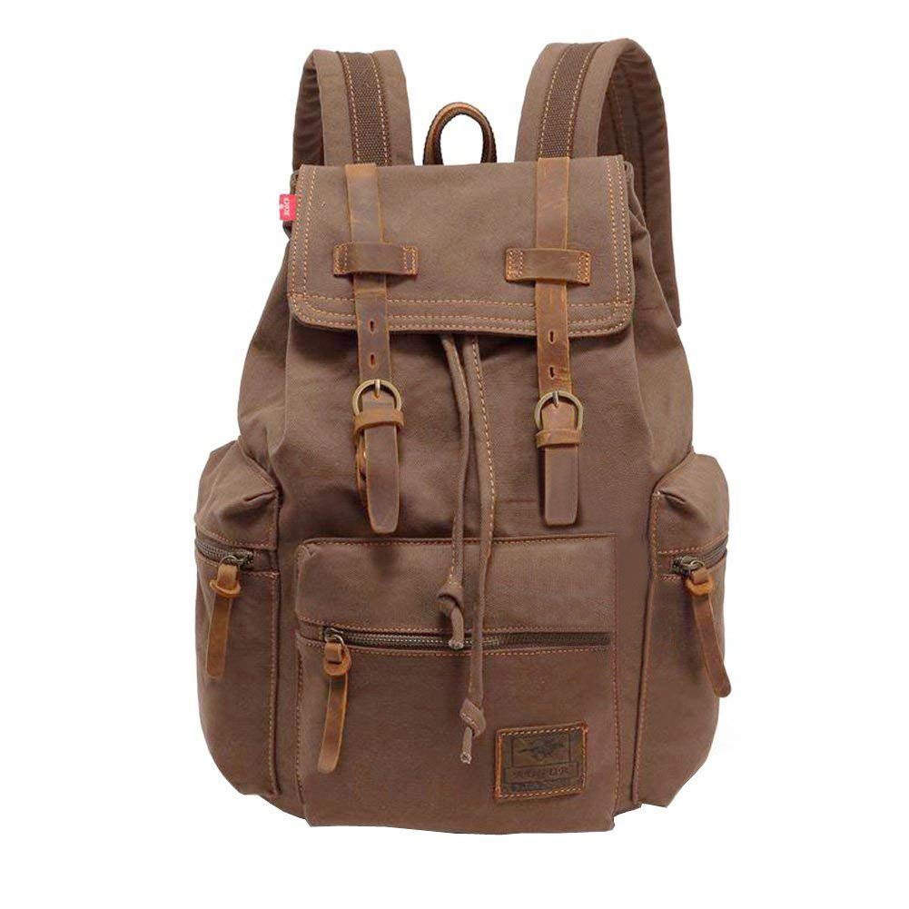 MEWAY Vintage Canvas Leather Backpack Hiking Daypacks Computers Laptop  Backpacks Unisex Casual Rucksack Satchel Bookbag Mountaineering Bag for Men  ... e95d34b88e762