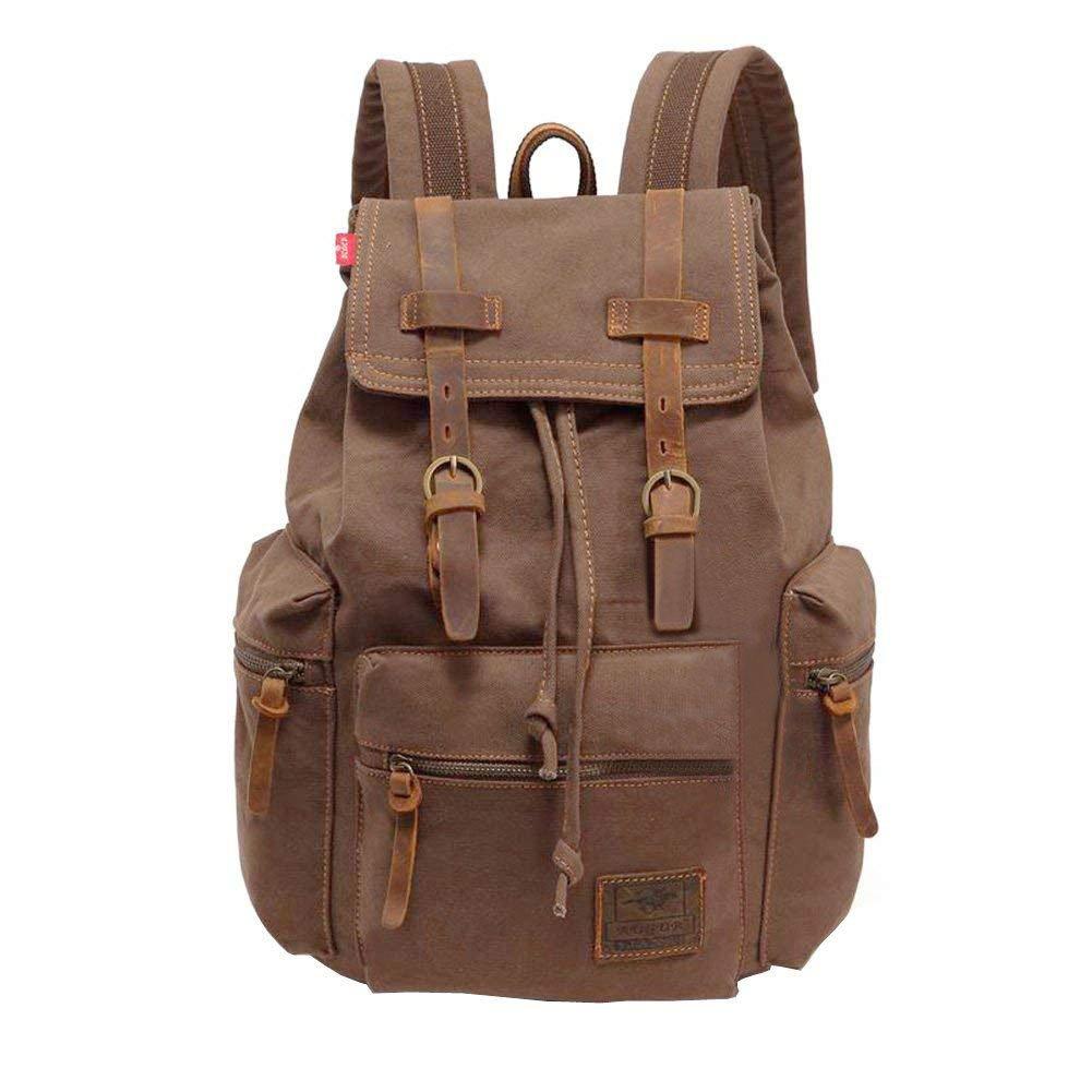 MEWAY Vintage Canvas Leather Backpack Hiking Daypacks Computers Laptop Backpacks Unisex Casual Rucksack Satchel Bookbag Mountaineering Bag for Men Women(Coffee)