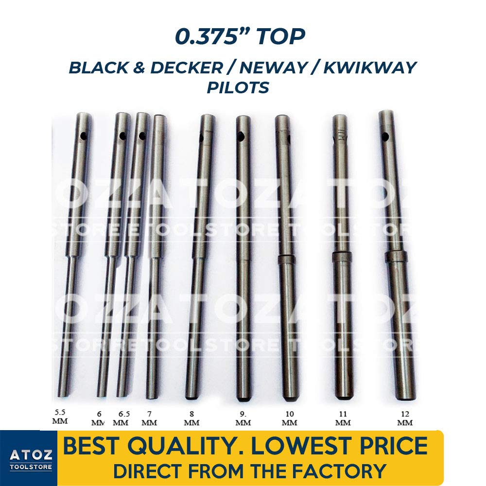 ATOZ.Toolstore 0.375'' Top Black & Decker/Neway/Kwikway Valve Seat Grinder Pilot Hardened Guides 9X Set (5.5mm-12mm) Express Shipping