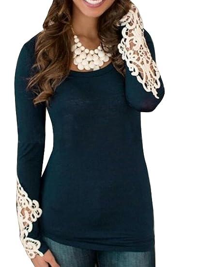 8107d1364b0c OULIU-Women Sexy Lace Stitching Long Sleeve T-Shirt Blouse Tops at Amazon  Women s Clothing store
