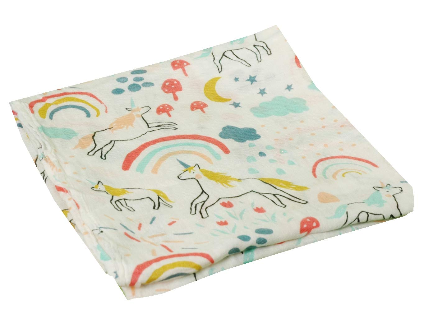 HGHG Baby Muslin Swaddle Blanket Your Receiving Blanket for Boys and Girls 47inches (Lovely Unicorn)