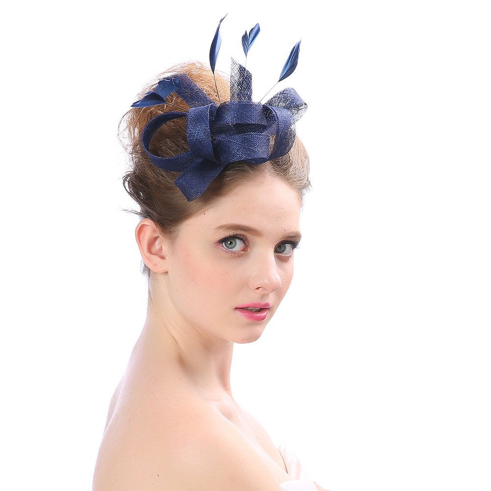 Women's Vintage Fascinators Hat Flower with Clip for Wedding Bridal Headware Church Cocktail Party Headdress by Hoxekle (Image #3)