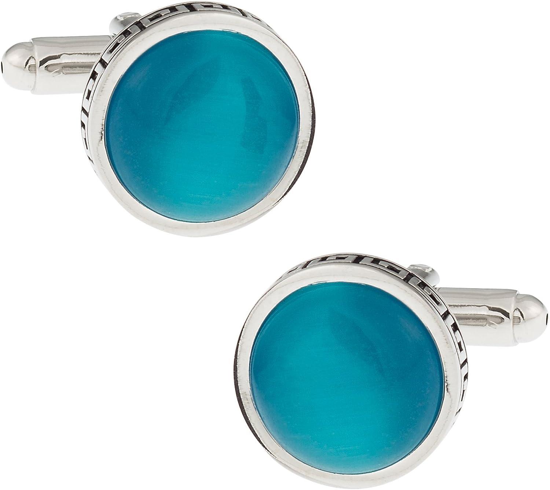 Cuff-Daddy Greek Aquamarine Blue Catseye-Style Cufflinks with Presentation Box