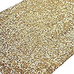 TRLYC 10 Pieces 12 by 120 Inches Gold Sequin Table Runners Wedding Banquet Party Decoration