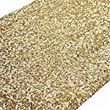 TRLYC Pack 3 12 by 120-Inch Gold Sequin Table Runners for Wedding