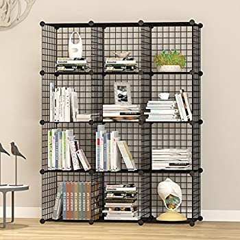 UNICOO - Multi Use DIY 12 Cube Wire Grid Organizer, Bookcase, Storage Cabinet, Wardrobe Closet,Toy Organizer, Wire Cube Storage- (Black Wire)