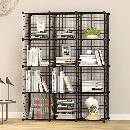UNICOO - Multi Use DIY 12 Cube Wire Grid Organizer, Bookcase, Storage Cabinet, Wardrobe Closet - (Black Wire)