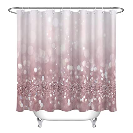 LB Pink Glitter CurtainsBling Party Decorations 60x72 Inch Waterproof Mildew Resistant Fabric Girly Shower