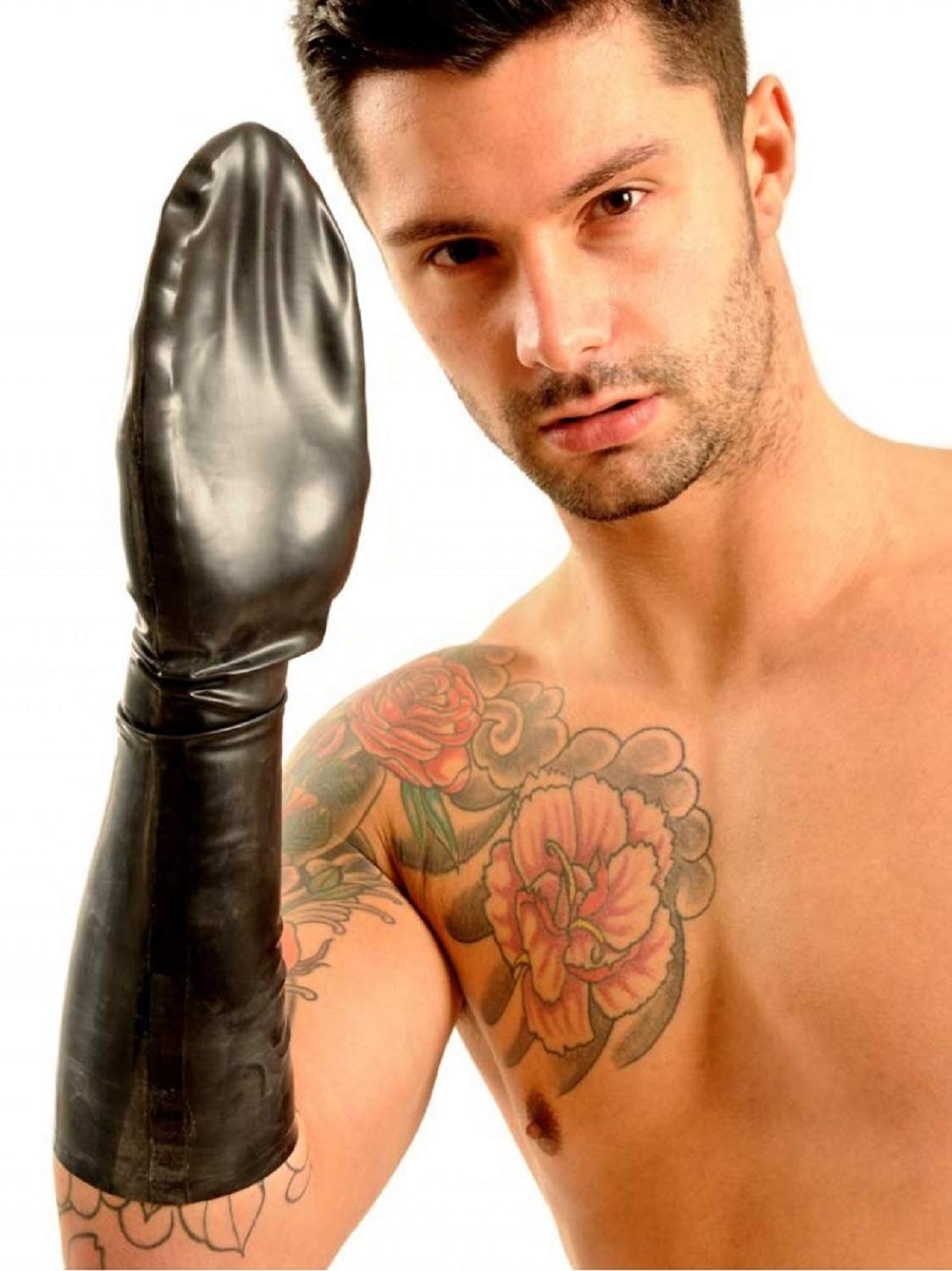 Elbow Length Latex Rubber fisting Mitten Black New Gay (S-M)