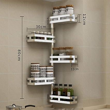 Estante de cocina de acero inoxidable 304, para colgar en la pared de la esquina del baño, estante giratorio para condimentos moderno Large Five: Amazon.es: Hogar