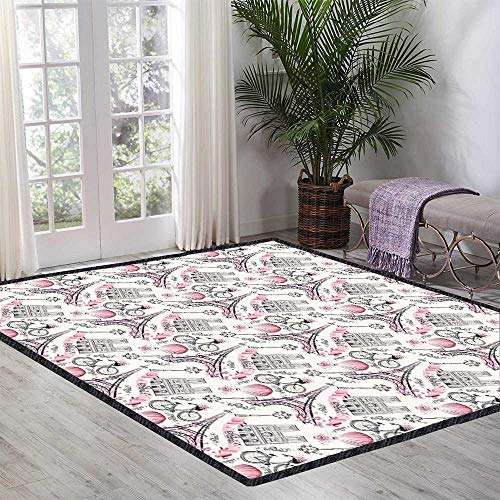 Eiffel Room Carpet Artistic Composition Floral Landmark Notre Dame Cathedral Bicycle Air Balloon Kid Game Carpet 59.05 Inch x 70.86 Inch Rose Black White