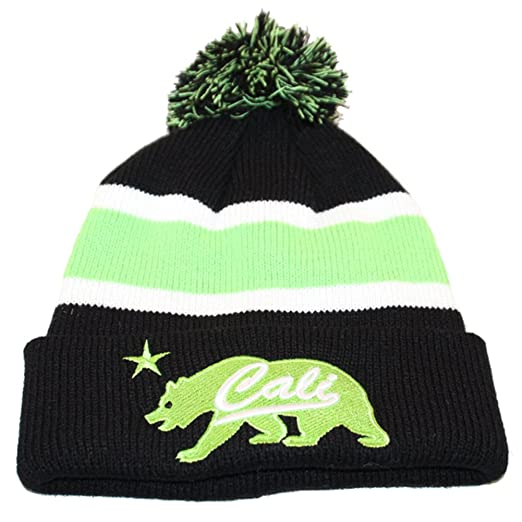 9e6883160568a California Republic Bear Beanie Black and Neon Green at Amazon Men s  Clothing store