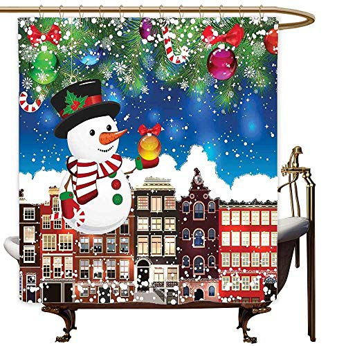 MaryMunger Large Shower Curtain Christmas Snowman in The City Streets Urban Style Noel Downtown Wishes Ritual Funny Illustration Single stall Shower Curtain W48x72L Multi -