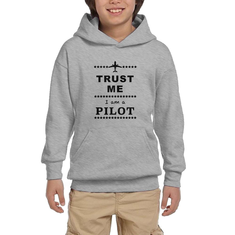 Youth Long Sleeve Trust Me I Am A Pilot Lightweight Hoodie With Pocket by QTHOO