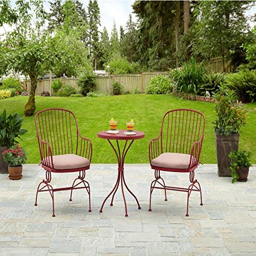 Solid Red Metal Patio Furniture Bistro Set, 3-Piece