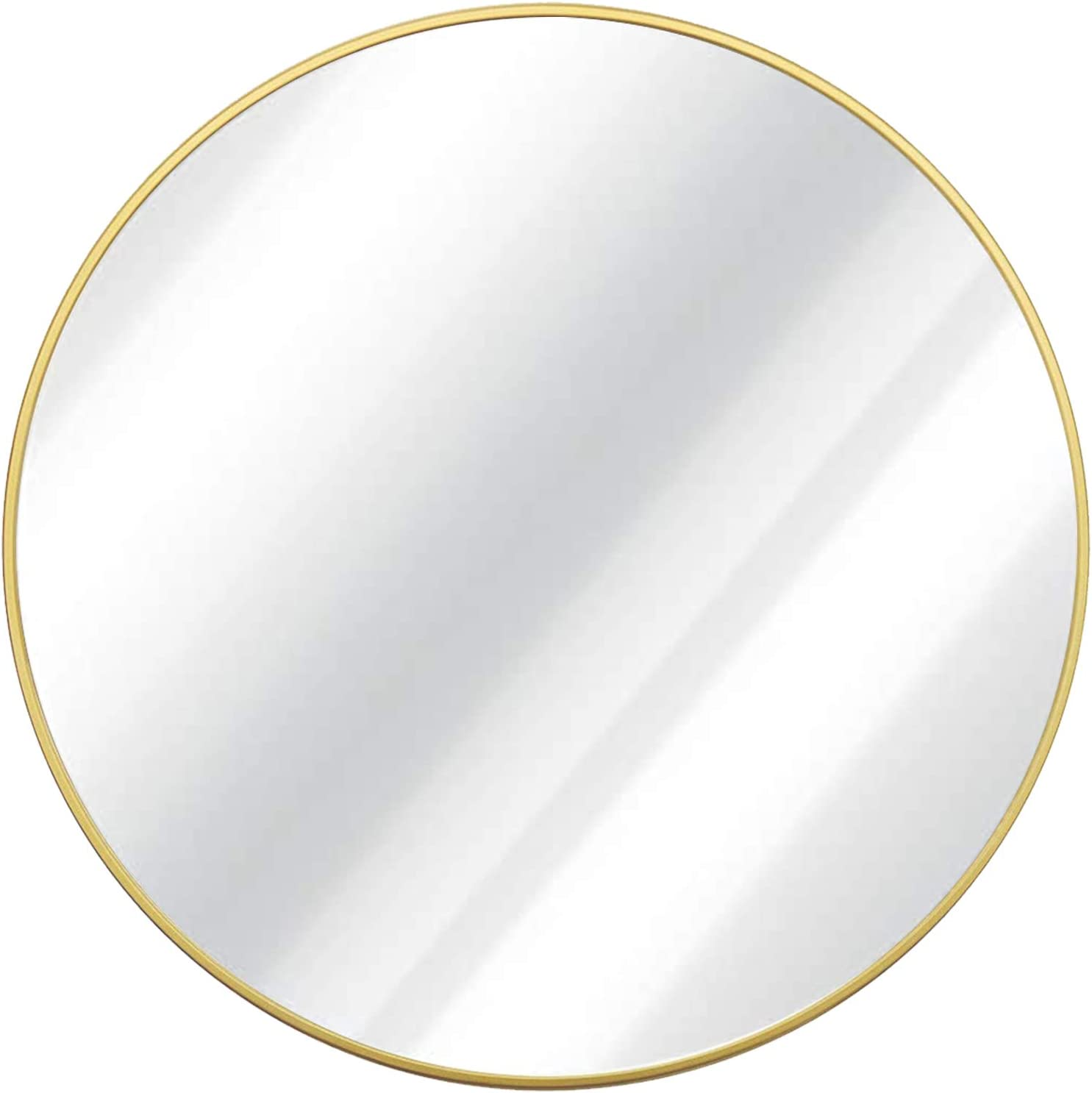 Growsun 30 inch Wall Round Mirror, Large Wall Mounted Circle Mirror Black Metal Frame for Bathroom, Entry, Dining Room, & Living Room