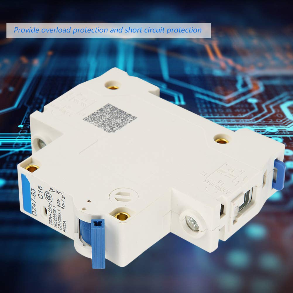 Disyuntor de circuito RCCB 2 piezas DZ47-63 Disyuntor de corriente residual de 1Polo 16A RCCB 220 // 380V
