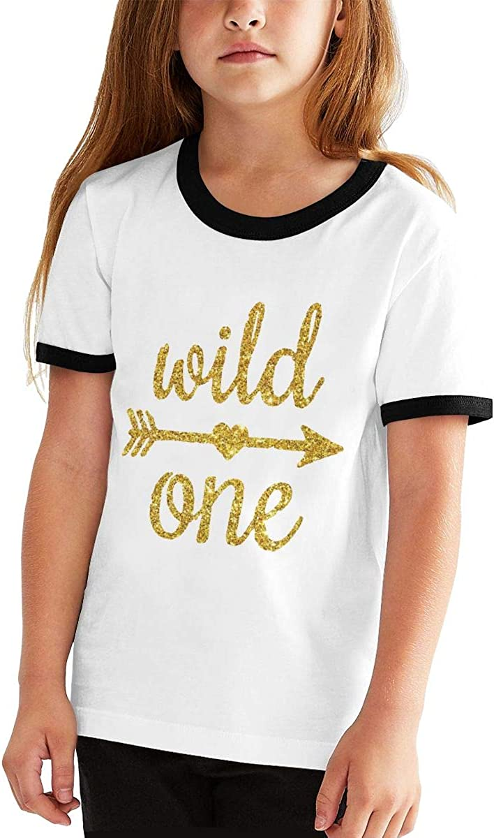Kids Or Little Boys and Girls Wild One Gold Glitter 1st Birthday Unisex Childrens Short Sleeve T-Shirt