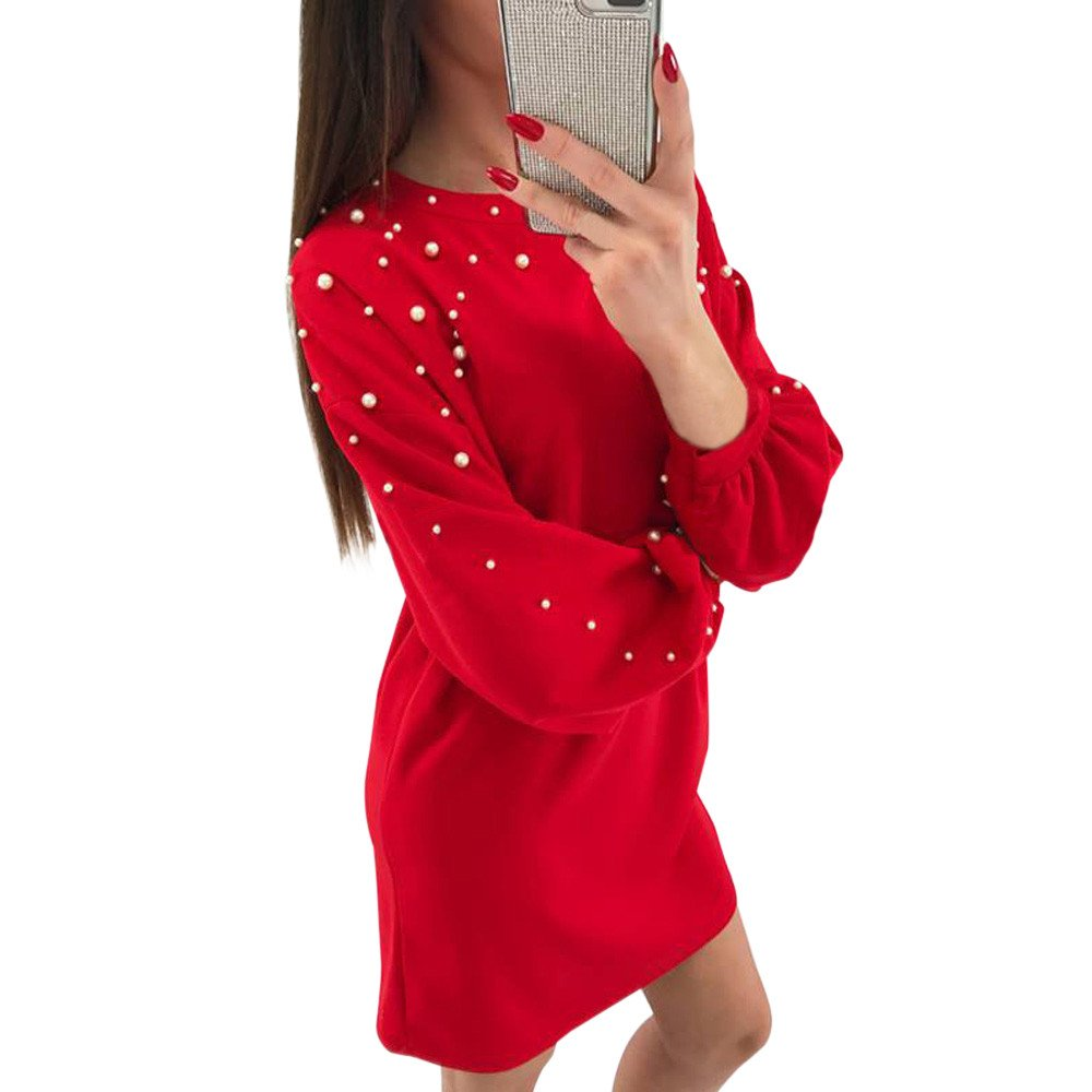 Women Dresses Women's Round Neck Solid Beading Long Sleeve Loose Tunic Slim Dress Ladies Shift Dress