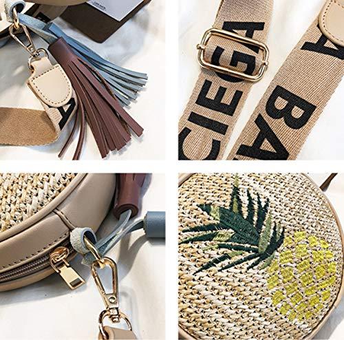 Women Purse BeautyWJY Shoulder Woven Straw Leaf Round Bag Handbag for Crossbody xErREFzw