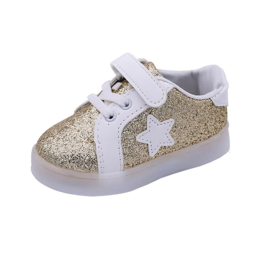 Muium 1-6 Years Old Kids Casual Colorful Light Toddler Infant Baby Boys Girls LED Luminous Star Sneakers Boots