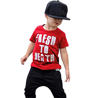 ac35f99bc DIGOOD Teen Baby Boys Girls 2018 Letter Print T-Shirt,for 1-5 Years Old,Kids  Fresh Blouse Tops Clothes Set