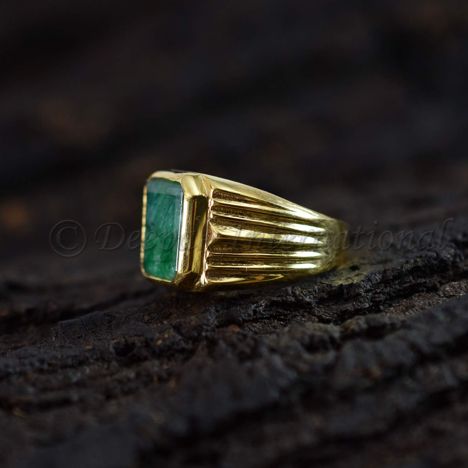 Details about  /Solid 925 Sterling Silver Ring Emerald Faceted Solitaire Ring Jewelry GESR190B